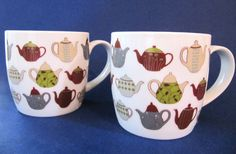"Set of 2 Danica Teapot Cup Mugs Made of Porcelain, 3.5"" Tall,  24 Teapots Design $25.67 #Danica at JustLuvTreasures."
