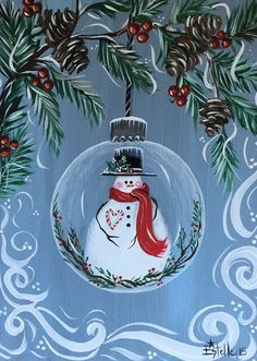 Original Whimsical Christmas Ornament Snowman Painting 16x12x3/4 on Gallery Wrapped Canvas Sides painted so you have the option to hang as is or frame .