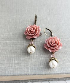 Rose Earrings, Pearl Drop, Swarovski Beads, Dusty Rose Pink Floral Dangle…