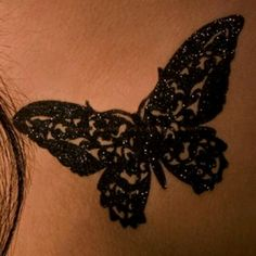 Lace butterfly tat. Would go good with my paisley on my back to finish.