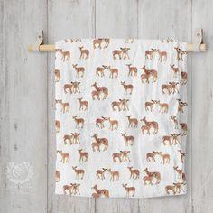 Organic Cotton Muslin Blanket - Fawn Nursery | Ships in 4-6 weeks Muslin Blankets, Receiving Blankets, Fox Fabric, Cotton Muslin, Baby Swaddle, Baby Play, Surface Pattern Design, Nursery Prints, Burp Cloths