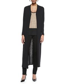Washable Wool Crepe Extra Long Cardigan, Sequined Rivulet Silk Tank & Slim Ponte Pants by Eileen Fisher at Neiman Marcus.