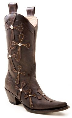 Stetson Oiled Leather Cross Applique Cowgirl Boots - Pointed Toe available at #Sheplers
