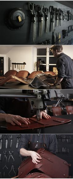 O&D Wire, leather workshop Sewing Leather, Leather Craft, Leather Tooling, Leather Bag, Leather Cover, Workshop Studio, Leather Workshop, Showroom Design, Leather Projects