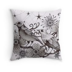 moonlight birds sitting in the magic tree tattoo style art printed cushion by Melanie Dann