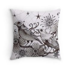 moonlight birds sitting in the magic tree tattoo style art printed cushion by Melanie Dann