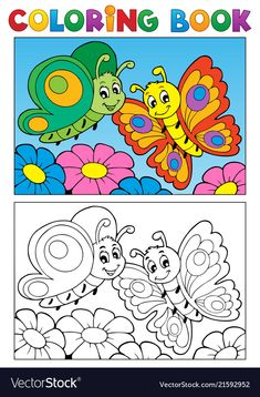 Coloring book butterfly theme 1 vector image on VectorStock Fish Drawings, Art Drawings For Kids, Drawing For Kids, Cartoon Drawings, Colouring Pages, Coloring Pages For Kids, Coloring Books, Kindergarten Colors, Peacock Painting