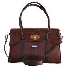 Choc croc large handmade luxury leather satchel handbag with pink lining