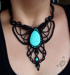 (the enchantress) A Sexy piece for A sexy lady ... inspired by Kat Von D Turquoise semiprecious stones with toho beads and onyx For more info about price, orders and design please send us a msg :)