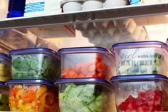 chopped veggies all ready for super salads or other dishes - yes please!   Inside My Refrigerator