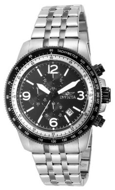 Invicta Men's Quartz Watch with Black Dial Chronograph Display and Silver Stainless Steel Bracelet 15143   Price:£47.62