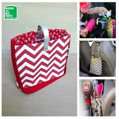 SUPER SALE! Hook Handle Tote with Attached Strap. Exclusively Designed & USA made. Car Organizer. red chevron-red-white horseshoes
