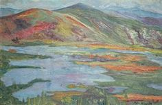 """KILPATRICK , AARON EDWARD , CANADIAN/AMERICAN , 1872-1953 , """"Lake With Mountain Vista"""" , oil on canvas , 15 1/2 x 24 in (39.4 x 61 cm), signed lower left"""