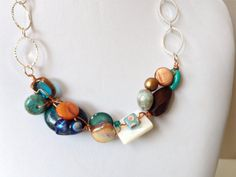 Tropical OOAK Wired Necklace Blue Orange White Necklace...