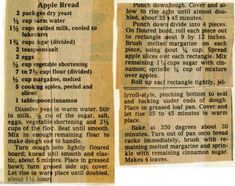 Apple Bread - Historic Recipe - Collections hosted by the Milwaukee Public Library Amish Recipes, Old Recipes, Apple Recipes, Sweet Recipes, Cooking Recipes, Cornbread Recipes, Apple Desserts, Retro Recipes, Vintage Recipes