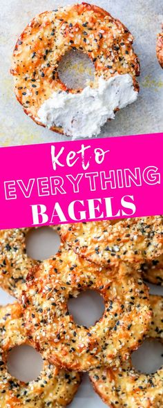 EASY KETO EVERYTHING BAGELS RECIPE - delicious everything bagels that are low carb using just cheese, eggs, and everything bagel seasonings for a filling keto bagel everyone will love! keto bagels Easy Keto Everything Bagels Recipe - Sweet Cs Designs Keto Bagels, Low Carb Bagels, Keto Pancakes, Keto Fat, Low Carb Diet, Keto Carbs, Keto Desserts, Keto Snacks, Dessert Recipes