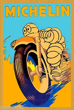 16x20 Canvas Vintage Motorcycle Poster -Big Michelin Moto on eBay!