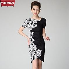 YUEMIAN™ Women's Half Sleeve Slim Round Collar Bodycon Print Dresses – USD $ 14.10