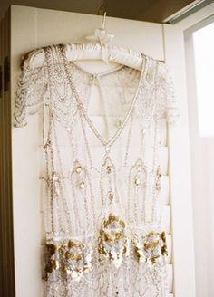 Wedding Ideas: gold-sheer-wedding-dress