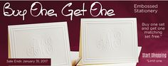 The Embossed Graphics Stationery BOGO sale is back. Buy one set of notes or cards and get another set (same item/personalization) for FREE through Monogram Wedding Invitations, Elegant Invitations, Bogo Sale, Personalized Stationery, Sale Items, Note Cards, Wedding Cards, Notes, Graphics
