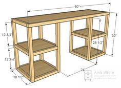 Ana White | Build a Parson Tower Desk | Free and Easy DIY Project and Furniture Plans  ZODAT DE MATEN DAN GELIJK ZIJN ALS AAN DE ANDERE KANT VAN DE OPEN HAARD