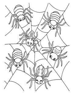kleurplaten halloween spinnen