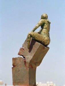 The Base Rejects It's Statue. Sculpture by Rabea Al Akhrass. From The Creative Memory of the Syrian Revolution.