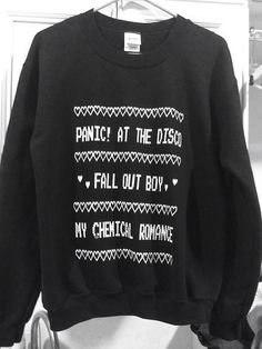 Really awesome cute sweater with print on it, panic !at the disco, fall out boy, my chemical romance