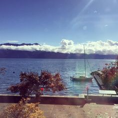 That lake view!  . #city #view #blue #lake #blue #sky #boat #mountains #autumn #swiss #citylife #foundin #switzerland