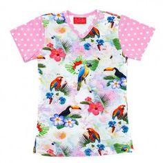 bb66bf95b324e4 Meisjes t-shirt Ninie kinderkleding zomercollectie 2017 - Kra papegaai