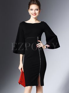 Shop for high quality Black Zipper Patch Flare Sleeve Skinny Dress online at cheap prices and discover fashion at Ezpopsy.com
