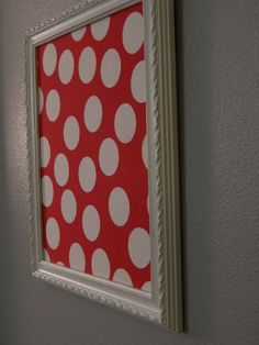 White framed bulletin board Red polka dot by OneHairCreations