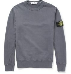 Stone Island Fleece-Back Cotton-Jersey Sweater Stone Island Jumper, Stone Island Sweatshirt, Hoodie Outfit, Sweater Hoodie, Mens Designer Hoodies, Football Casuals, Mens Clothing Styles, Cool Shirts, Casual Outfits