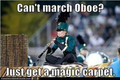 Oboe player dreams for marching band