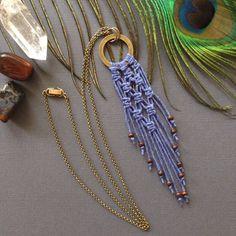 Macrame Pendant Necklace Blue by PaisleyandBrownPaper on Etsy