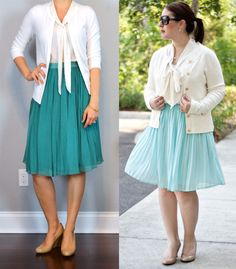 outfit post: white cardigan, white tie neck blouse, teal midi skirt, nude pumps (details: )