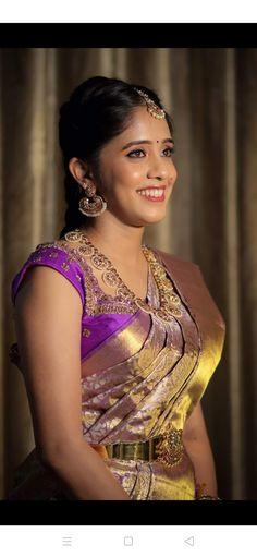 Bridal Sarees South Indian, Indian Bridal Fashion, Vaddanam Designs, Saree Styles, Silk Satin, Bridal Style, Color Combos, Wedding Bride, Blouse Designs