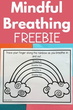 The mindful breathing printables are a great way to incorporate mindfulness activities for kids. These FREE printable breathing exercises can be found at Pink Oatmeal. They are easy to use in a calmin Elementary Counseling, Counseling Activities, Art Therapy Activities, School Counselor, Calming Activities, Elementary Art, Teaching Mindfulness, Mindfulness For Kids, Mindfulness Activities