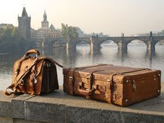 Travel in style with vintage leather luggage.