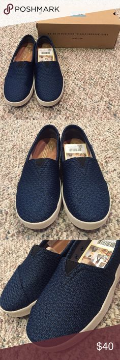 New in Box $59 TOMS Blue Avalon Mesh Sneakers Brand new in box! Size 7 and 7.5 available Toms Shoes Flats & Loafers