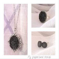 #Vintage σετ κοσμημάτων με ανάγλυφα σχέδια!!!!  #handmade #paperjewelery #quilling #quillingjewelery #black #grey #necklace #earrings #ring #paperring #ilovepaper