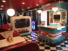 Extreme Makeover Home Edition - diner style kitchen.  I would love this!!