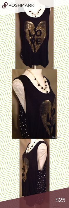 "Black ""Love"" Tank Top With Hearts This black tank top features ""LOVE"" on the front with a gold heart, cute hearts on the back and a racerback style. Size: 2X; 95% Rayon and 5% Spandex. Flaws: Hole Tops Tank Tops"