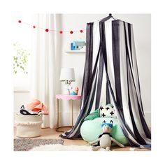 Create a centerpiece in a child's room with the Rugby Stripe Canopy in Black&White from Pillowfort. This bed canopy can be hung to create sleeping privacy or put in a corner for a quiet reading nook.
