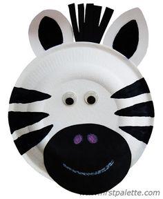 Animais feitos com pratos de papel - Zebra