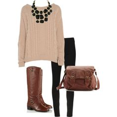 A fashion look from November 2012 featuring shirt sweater, elastic waist pants and equestrian boots. Browse and shop related looks. Baggy Sweater Outfits, Baggy Sweaters, Cold Weather Outfits, Fall Winter Outfits, Style Ideas, Style Inspiration, Spring Looks, Closet Ideas, Playing Dress Up