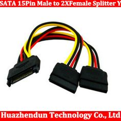 Hot NEW SATA 15pin Hard Disk Power Male to 2 Female Splitter Y 1 to 2 extension Cable 50pcs/ot free shipping #Affiliate