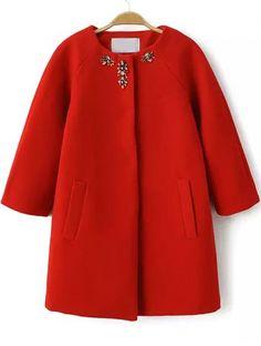 Buy Orange Round Neck Bead Pockets Woolen Coat from abaday.com, FREE shipping Worldwide - Fashion Clothing, Latest Street Fashion At Abaday.com
