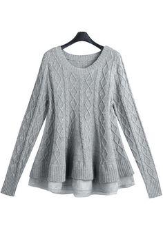 Grey Long Sleeve Diamond Patterned Knit Sweater