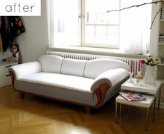 updated sofa - all I want to do is reupholster awesome thrift store finds